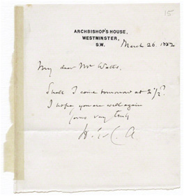 Letter from Henry Edward Manning, Archbishop's House, Westminster to G.F.Watts, 26 March 1882 (GFW//15/5)