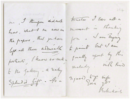 Letter from John Everett Millais, 2 Palace Gate to G. F. Watts, Limnerslease, 6 December 1895 (GFW/1/1/121)