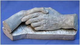Cast of the left hand of G. F. Watts and M. Watts, George Frederic Watts, 1886 ©Watts Gallery Trust