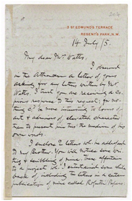 Letter from William Michael Rossetti, 3 St. Edmund's Terrace, Regents Park to Mary Seton Watts, 14 July 1905 (GFW/1/5/16) © National Portrait Gallery, London