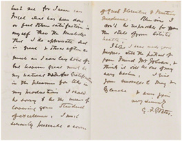Letter from G. F. Watts, Little Holland House to Charles H. Rickards, 6 October 1872 (GFW/1/2/69) © National Portrait Gallery, London