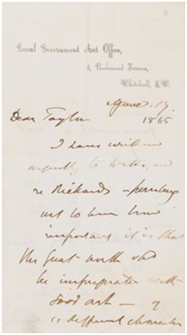 Letter from Tom Taylor, Local Government Act Office, 8 Richmond Terrace to J. E. Taylor, Manchester, 17 June 1865 (GFW/1/2/3) © National Portrait Gallery, London