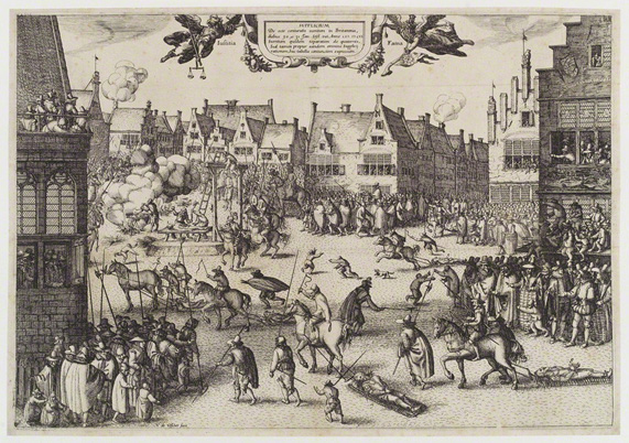 'The Execution of the Conspirators in the Gunpowder Plot' by Claes Jansz Visscher, 1606.