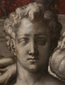 Detail 05. Head of male grisaille figure.