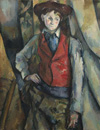 Boy in a Red Waistcoat by Paul Cézanne, 1888-90, National Gallery of Art, Washington. Collection of Mr. and Mrs. Paul Mellon, in Honor of the 50th Anniversary of the National Gallery of Art, 1995. 47.5