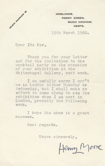 Henry Moore Letter