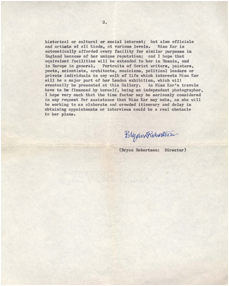 Bryan Robertson, letter 'to whom it may concern'