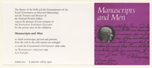 Private View card for Manuscripts and Men exhibition, 1969