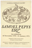 Poster advertising Samuel Pepys Esquire exhibition, 1970
