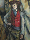 Boy in a Red Waistcoat by Paul Cézanne, 1888-90. National Gallery of Art, Washington. Collection of Mr. and Mrs. Paul Mellon, in Honor of the 50th Anniversary of the National Gallery of Art, 1995.47.5