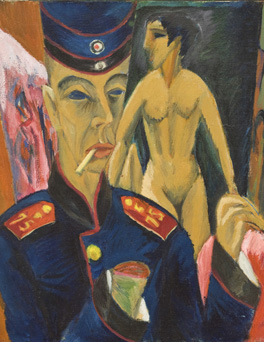 Self-portrait as a Soldier by Ernst Ludwig Kirchner, 1915. Allen Memorial Art Museum, Oberlin College, Ohio; Charles F. Olney Fund, 1950 © Allen Memorial Art Museum, Oberlin College, Ohio