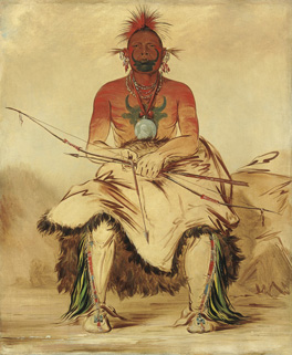 La-Doo-Ke-A, Buffalo Bull, a Grand Pawnee Warrior, Pawnee by George Catlin, 1832 © Smithsonian American Art Museum, Gift of Mrs. Joseph Harrison, Jr.
