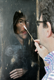 John Donne portrait during conservation work