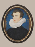 Francis Bacon by Nicholas Hilliard, 1578 showing details of the lip and right eye