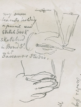 Sketches made at Bassano's studio by Sir George Scharf, Scharf Sketchbook 108, 1885, NPG7/3/4/2/123