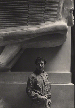 Jacob Epstein at the Tomb of Oscar Wilde by Emil Otto ('E. O.') Hoppé, 1911, NPG x132916 © 2010 E.O. Hoppé Estate Collection / Curatorial Assistance Inc.