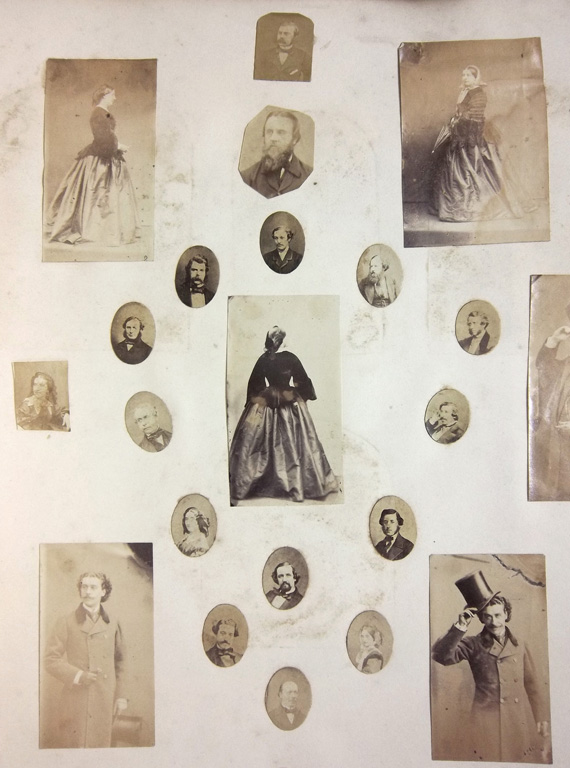 Photocollage page from the Herbert Watkins album, National Portrait Gallery Collection.