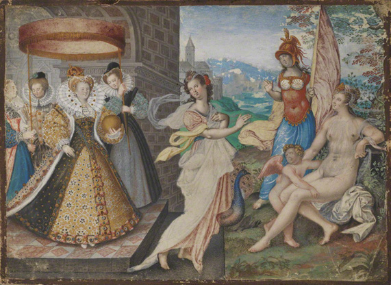 Elizabeth I and the Three Goddesses, attrib. Isaac Oliver, c. 1590. ©  National Portrait Gallery, London, Purchased with the support of Mark Weiss