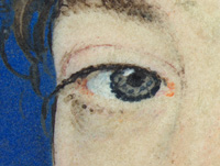 Francis Bacon by Nicholas Hilliard, 1578 showing details of right eye