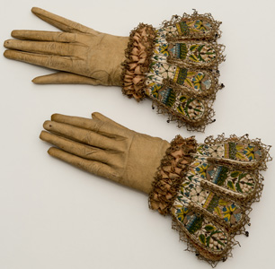 Leather and silk embroidered gloves, The Glove Collection Trust, Courtesy of the Fashion Museum, Bath and North East Somerset Council