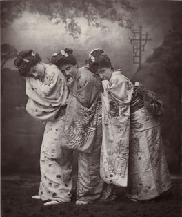 Sibyl Grey, Leonora Braham, and Jessie Bond in The Mikado