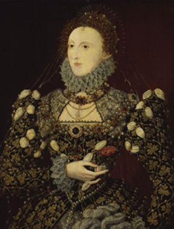 The 'Phoenix' portrait of Queen Elizabeth I  (1533-1601) Attributed to Nicholas Hilliard