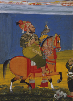 Kunwar Anop Singh of Devgarh riding with a falcon Devgarh, Mewar, Rajasthan attributed to Bakhta, c. 1776 © Museum Rietberg Zurich. Gift of Dr. Carlo Fleischmann Foundation and acquisition. Photo: Wettstein & Kauf