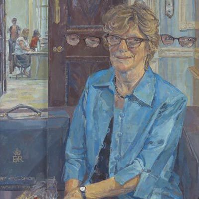 Dame Sally Davies by Daphne Todd oil on raised panels, 2016 NPG 7022