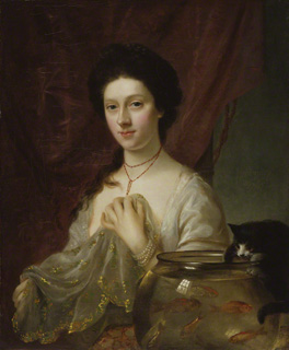 Three-quarters format. Nathaniel Hone's Kitty Fisher, 1765, 29 ½ x 24 ½ ins (74.9 x 62.2 cm) (National Portrait Gallery).