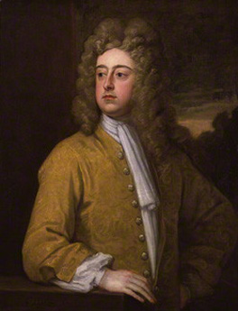 Kit-cat format. Godfrey Kneller's 2nd Earl of Godolphin, c.1710-2, 35 3/4 x 27 3/4 ins (90.8 x 70.5 cm), a portrait from the Kit-cat Club series (National Portrait Gallery).