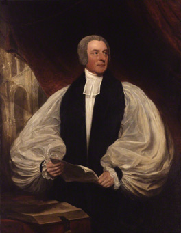 11. Bishop's half-length format. Samuel Lane's George Murray, Bishop of Rochester, c.1849, a bishop's half-length canvas, 56 x 44 3/8 ins (142.3 x 112.7 cm), showing his billowing sleeves (National Portrait Gallery).