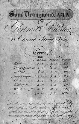 Fig.12 Samuel Drummond's sizes. Drummond's printed list of terms for 1811, including an additional whole-length size of 72 x 50 ins (photograph in National Portrait Gallery Archive).