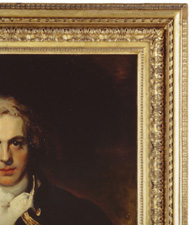 Fig.4. Graham Moore, by Thomas Lawrence, 1792 (National Portrait  Gallery). Frame carved and gilt pine, width 5 ins (12.5 cm).
