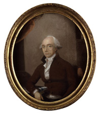 Fig.3. Warren Hastings, pastel, by Thomas Lawrence, 1786 (National Portrait Gallery). Frame gilt compo on pine, plain surfaces burnished, width1 ¼ ins (3 cm).