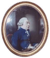 Fig.2. Sir Elijah Impey, pastel, by Thomas Lawrence, 1786 (National Portrait Gallery). Frame gilt compo on pine, plain surfaces burnished, width 1 ¼ ins (3 cm).