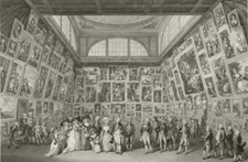 The Royal Family viewing the exhibition of the Royal Academy, etching by P.A. Martini, after J.H. Ramberg, 1789 (National Portrait Gallery).