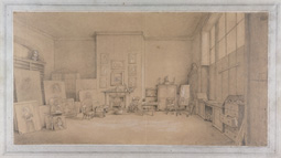 Sir Thomas Lawrence's painting room in 1824, drawing by Emily Calmady, 1824 (Yale Center for British Art, New Haven)