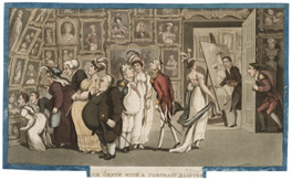 The Portrait Painter's Showroom, aquatint for William Combe's</em></strong><br />aquatint for William Combe's <em>The History of Johnny Quae Genus</em>, 1822, from a drawing by Thomas Rowlandson of 1809.