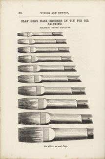 'Flat Hog's Hair Brushes in Tin for Oil Painting', page from Winsor & Newton's Catalogue and Price List. For the Trade Only, c.1857-61.)