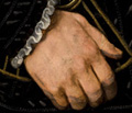 Detail photographs of the hand holding the purse