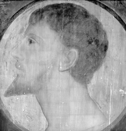 NPG 3331, Infrared reflectogram mosaic detail of the face