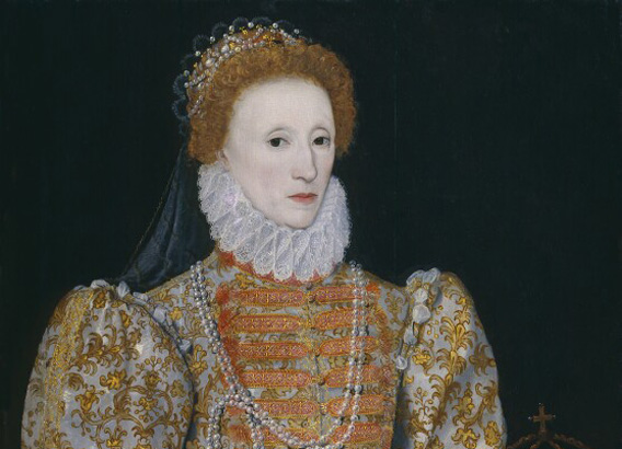 Queen Elizabeth I by Unknown continental artist oil on panel, circa 1575  NPG 2082 © National Portrait Gallery, London (detail)