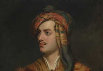 Painting of poet Lord Byron by artist Thomas Phillips
