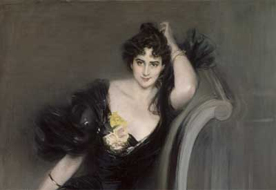Painting of Art critic, journalist and socialite Lady Colin Campbell by artist Giovanni Boldini