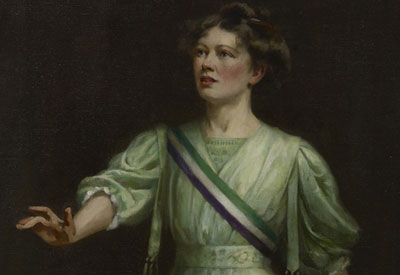 Painting of Militant suffragette Dame Christabel Pankhurst by painter Ethel Wright