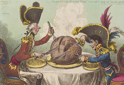 Cartoon The plumb-pudding in danger by Caricaturist James Gillray