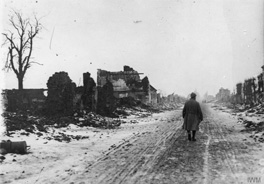 5.© IWM (Q 61326) Ruined houses on the Bethune-Arras road at La Targette, 28 February 1916