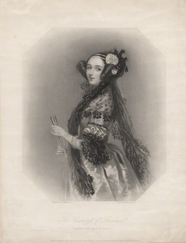 Ada Lovelace By William Henry Mote after Alfred Edward Chalon Stipple engraving, published 1839 NPG D5123