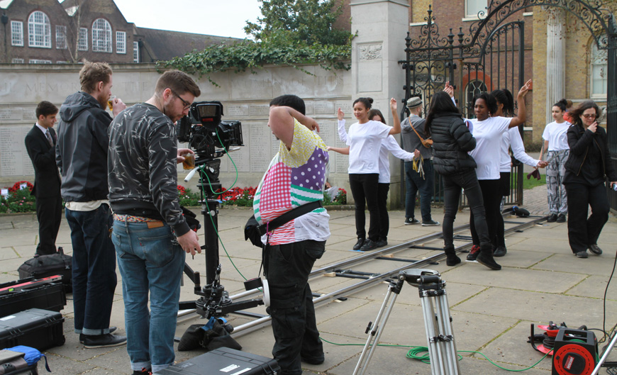 Artist Eelyn Lee, her crew and students from Brentside High School filming at Pitzhanger Manor-House. . Photograph by Daniyal Motaleby.