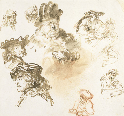 A Sheet of Figure Studies, with Male Heads and Three Sketches of a Woman with a Child, Rembrandt van Rijn, 1636, The Barber Institute of Fine Arts